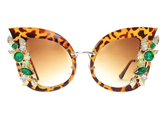 Womens Oversized Cat Eye Jeweled Sunglasses