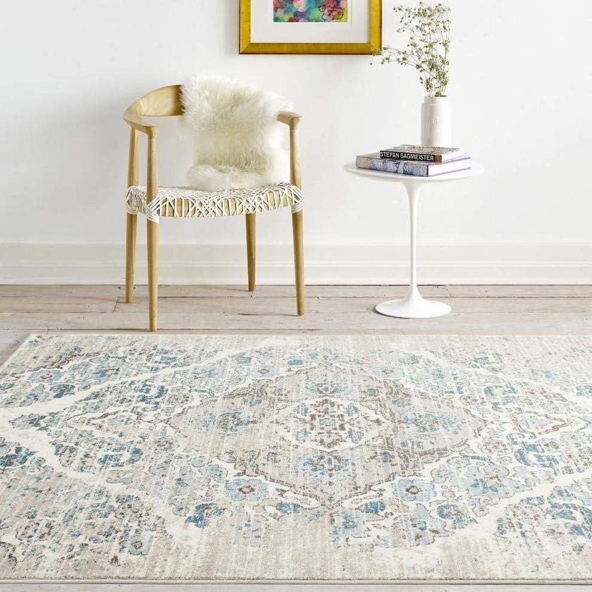 Distressed Blue 5'2x7'2 Area Rug Carpet Large New