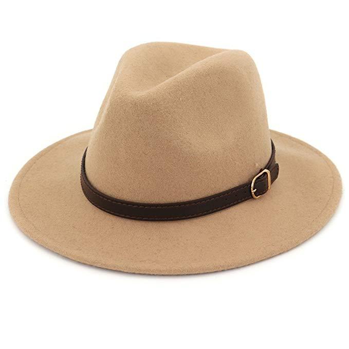 Women Wide Brim Wool Fedora Panama Hat with Belt Buckle