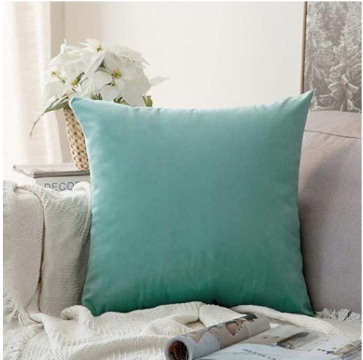 Velvet Soft Soild Decorative Square Throw Pillow Covers
