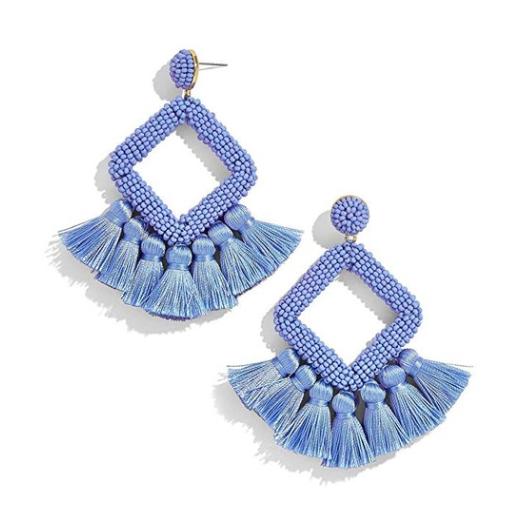 Beaded Statement Tassel Earrings,Handmade Earring, Bohemian Dangle Fringe Earrings f