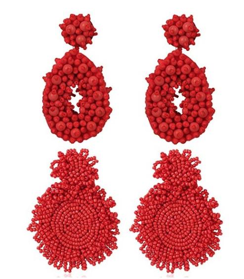 2 Pairs Statement Beaded Earrings for Women Girls Bohemian Dangle Teardrop Earrings