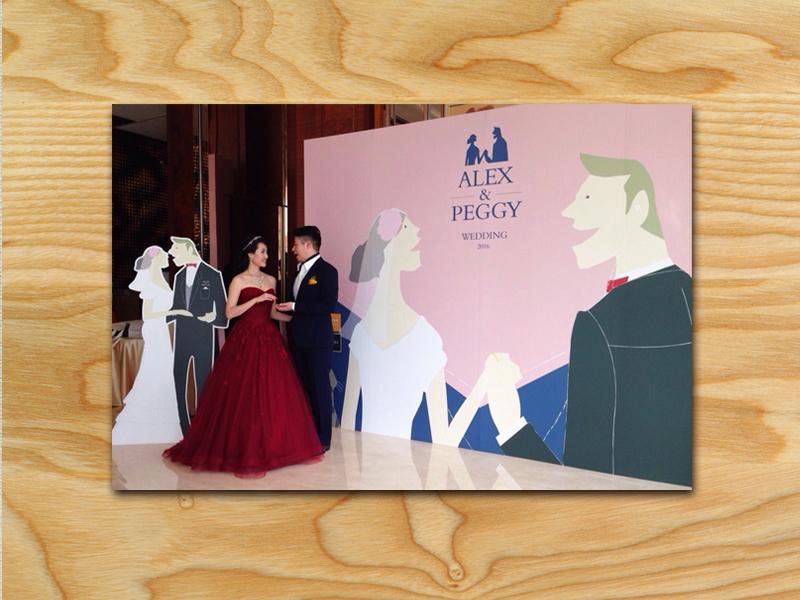 婚禮插畫,婚禮背板設計
