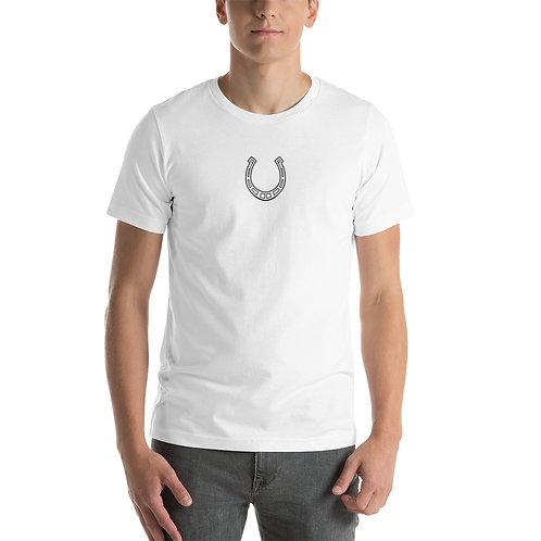The TA Horse Shoe + Small TA Logo on Back - Short-Sleeve Unisex T-Shirt