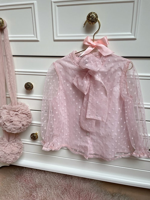 Blouse Tulle Pink Bow
