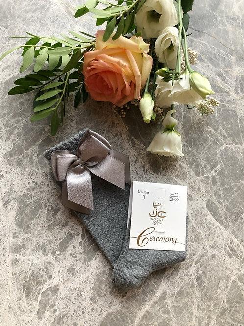 Classic Knee Socks Shiny Grey