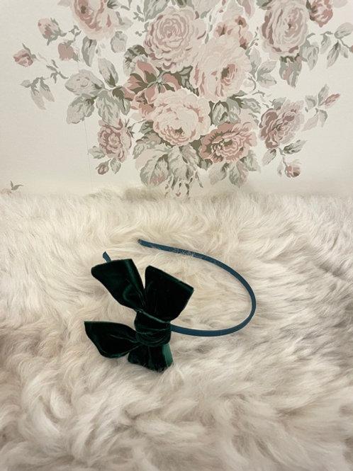 Hairband Bow Velvet Green