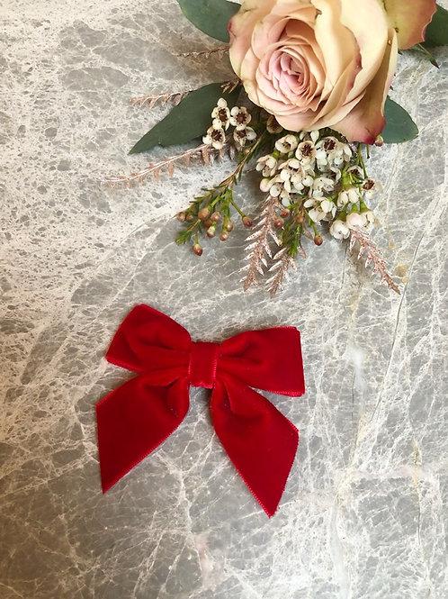 Bow velvet Christmas red