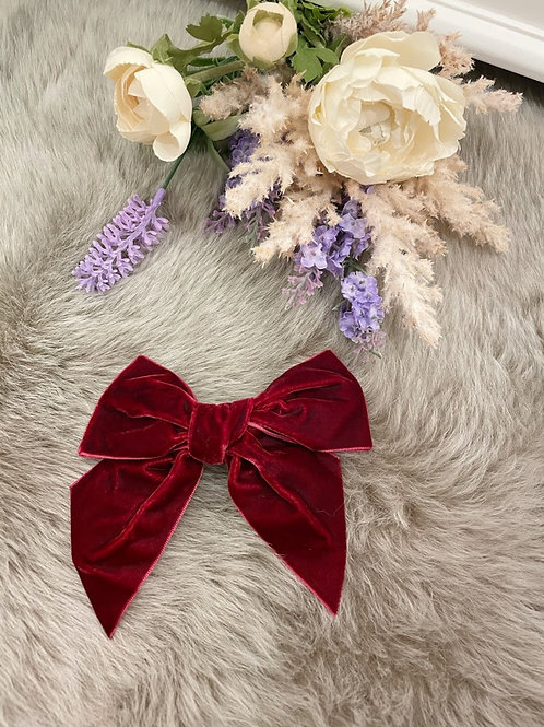Big Bow Velvet Burgundy