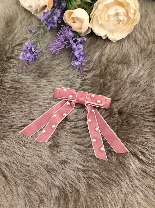 Big Bow Pearl Dusty Pink