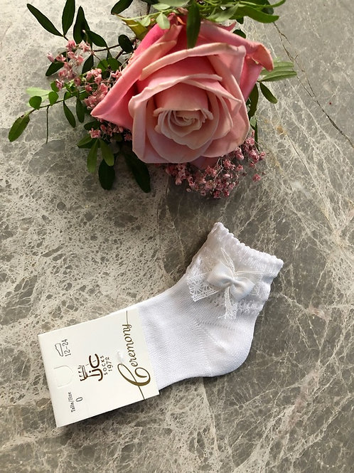 Lace Ankle Socks White Bow