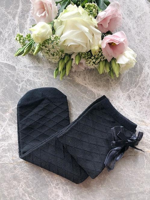Checkered Knee High Socks Black