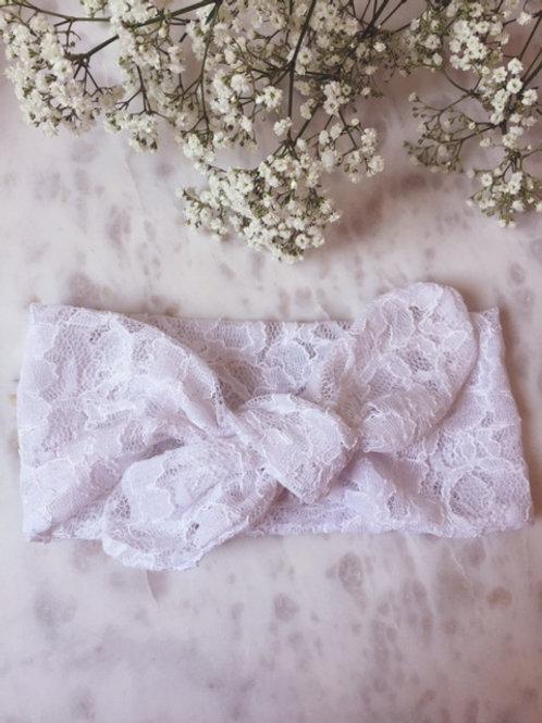 Knotted Headband Lace White