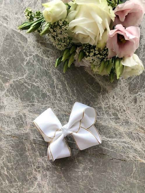 Grosgrain White Bow