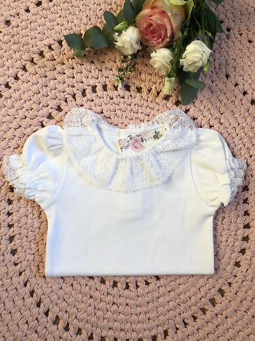 Body White Luxury Lace Short Sleeves