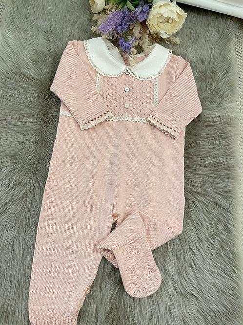 Powder Pink knitted Onesie