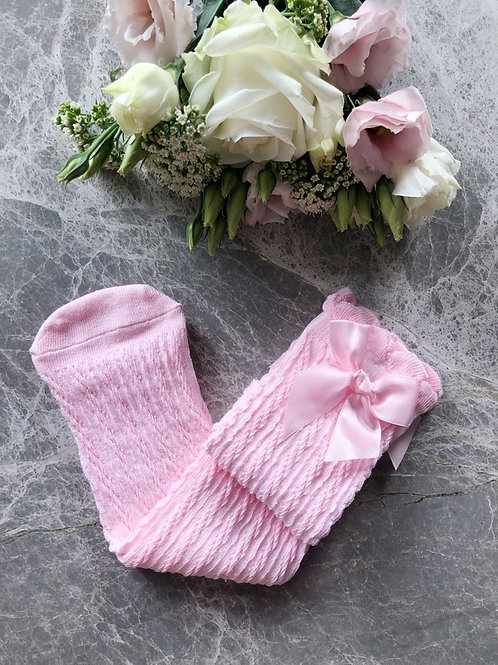 Knee High Cable Socks Pink