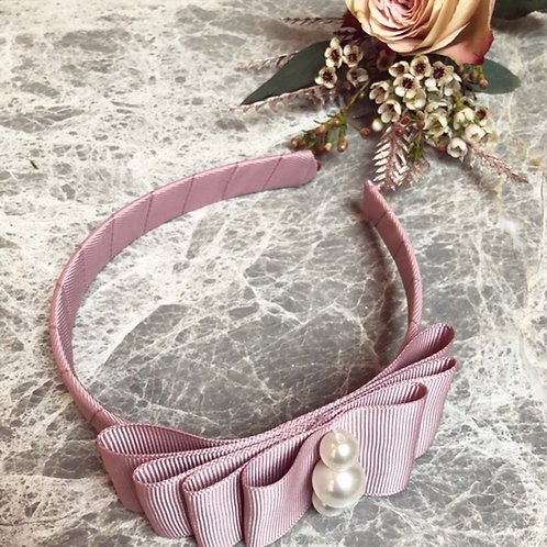 Hairband dusty pink pearls