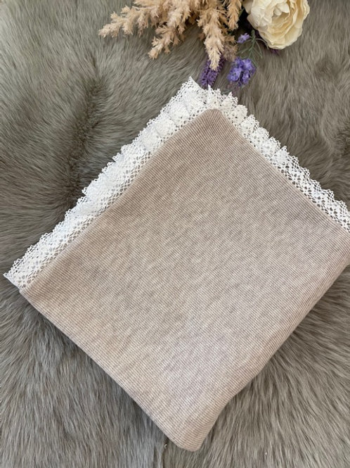 Knitted Blanket Beige Lace