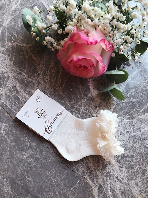 Frilly Lace Ankle Socks Ivory