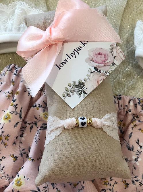 Bracelet Lace Pink Heart
