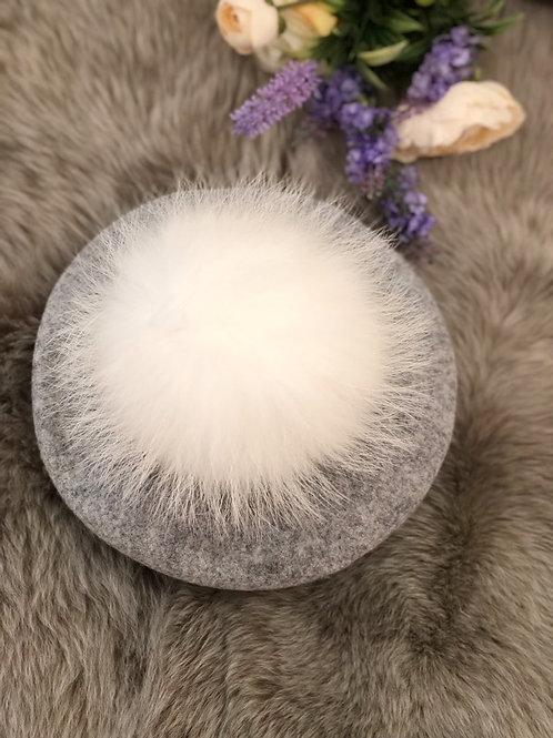 Pompom Beret Grey