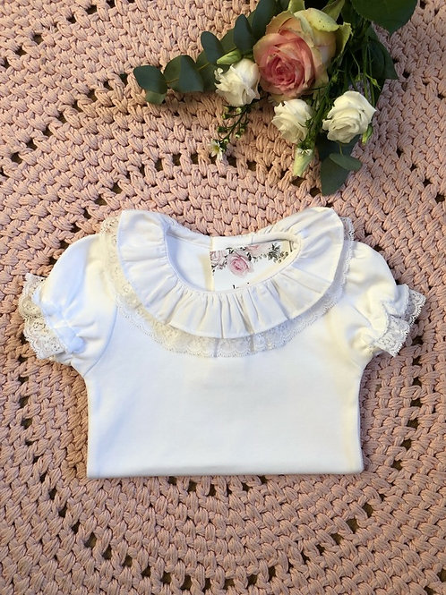 Body White Double Lace Shorts Sleeves