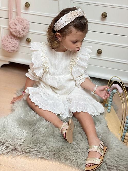 Dress Boho Lace Embroidery Ivory