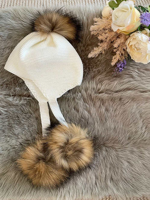 Pompom Bonnet Ivory
