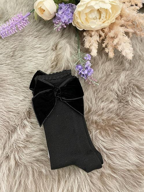 Knee Socks velvet Black