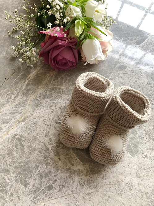 Beige Furry Booties