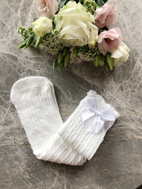 Knee High Cable Socks Ivory