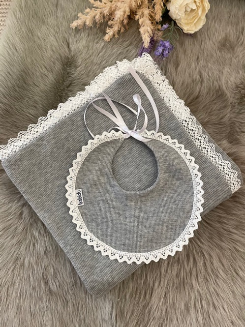 Knitted Blanket Grey Lace
