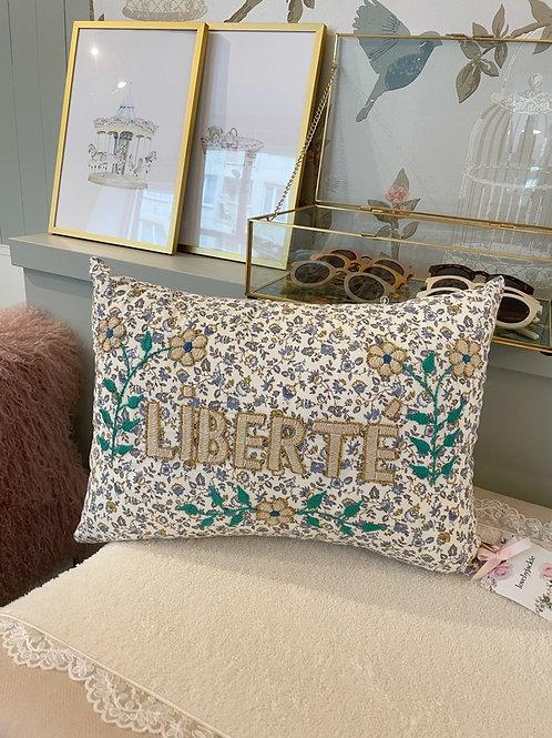 Embroidered cushion Liberte Blue