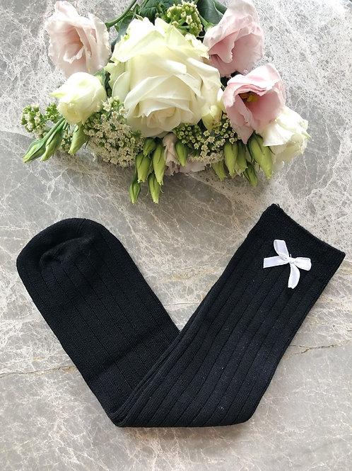 Ribbed Knee High Socks Black