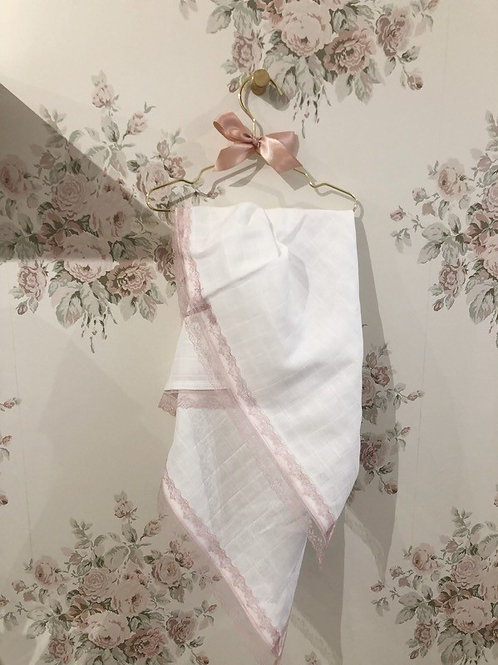 Baby Swaddle Blush Lace
