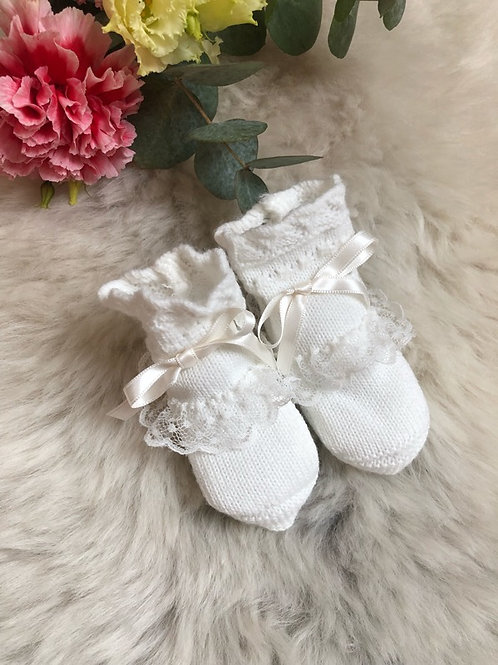 Ivory Lace Booties