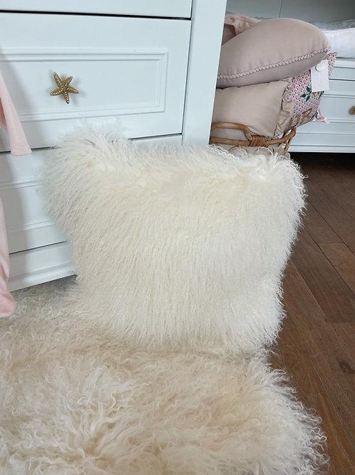 Sheepskin Cushion Tibet Ivory