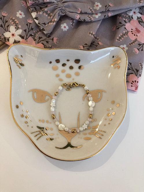 Bracelet nacre white-pink