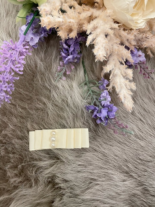 Bow Grosgrain Ivory pearls Mini