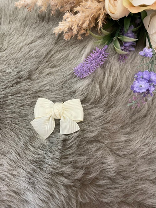 Grosgrain Bow Small Ivory
