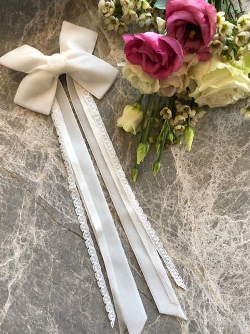 Hair Barrette Ivory Lace