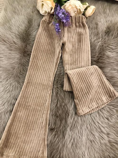 Velvet Flared Pants Beige