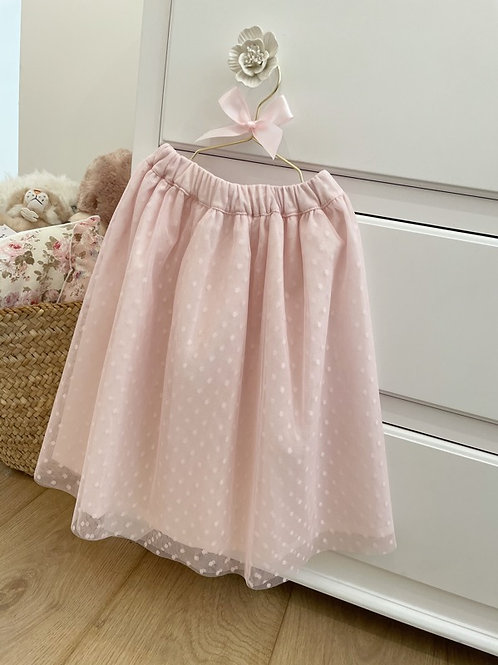 Soft Pink Tulle Midi Skirt