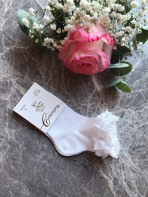 Frilly Lace Ankle Socks White