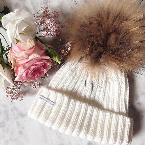 Pompom Hat Ivory