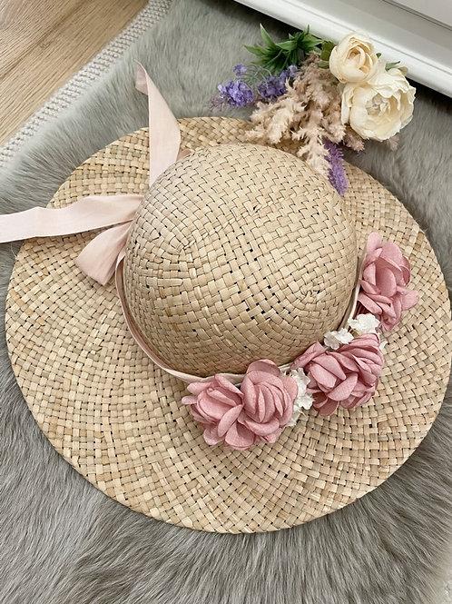 Straw Hat Pink Flowers