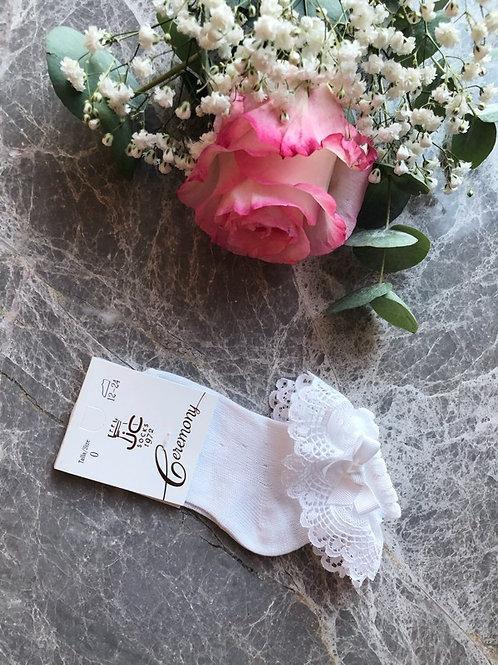 Luxury Lace Ankle Socks White
