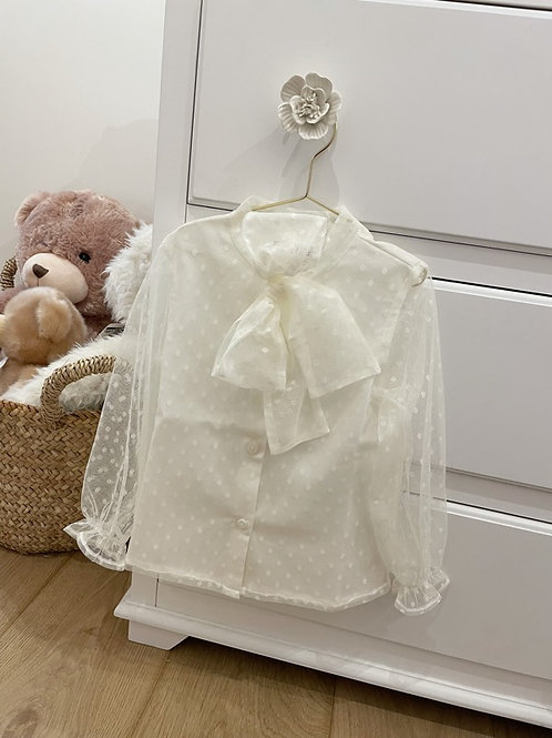Blouse Tulle Ivory Bow