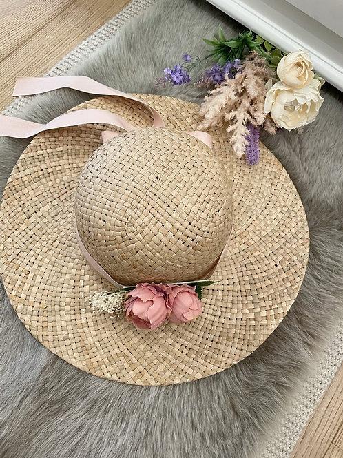 Straw Hat Pink Peony